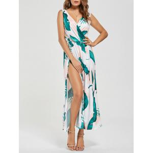 Palm Leaf Slit Long Cutout Maxi Dress