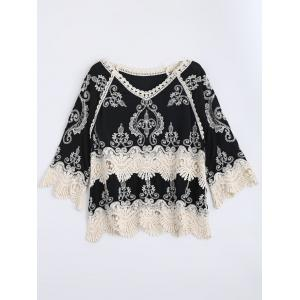Scalloped Embroidery Crochet Insert Top - Black - One Size