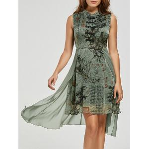 Mandarin Collar Floral High Low Chinese Dress - Green - Xl