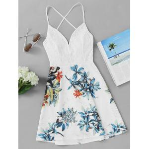 Lace Insert Leaf Print Backless Short Dress - White - L
