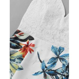 Lace Insert Leaf Print Backless Short Dress - WHITE XL