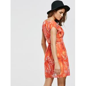 Chiffon Printed A Line Mini Dress - ORANGE RED XL
