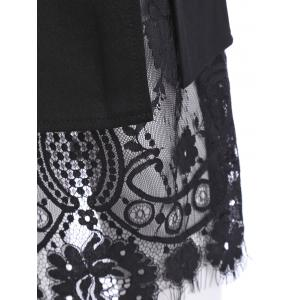 Slit Lace Insert Button Pencil Jupe - Noir L
