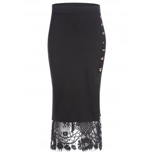 Slit Lace Insert Button Pencil Skirt - Black - Xl