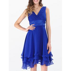 Empire Waist Sleeveless Layered Surplice Chiffon Dress