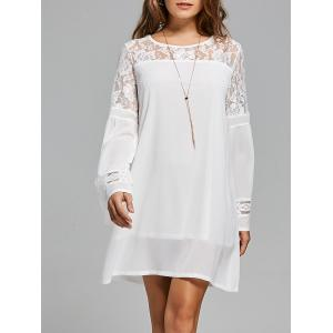 Lace Panel Shift Dress with Sleeves - White - L