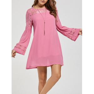 Lace Panel Shift Dress with Sleeves