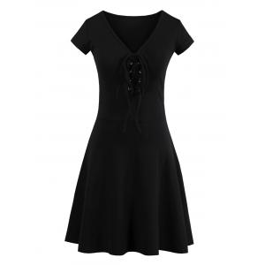 Criss Cross Lace Up Knit Skater Dress - Black - One Size