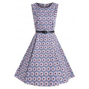Floral Print Vintage Belted A Line Dress