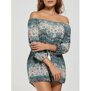 Tassel Drawstring Boho Off The Shoulder Romper