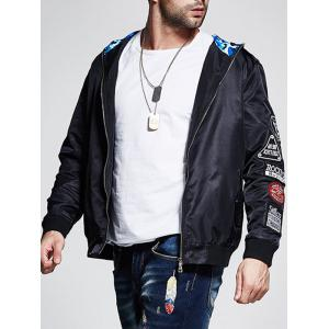 Plus Size Camo Hood Patched Bomber Jacket - BLACK 4XL