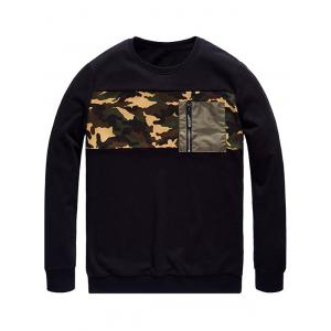 Plus Size Camo Insert Pocket Sweatshirt - BLACK 3XL