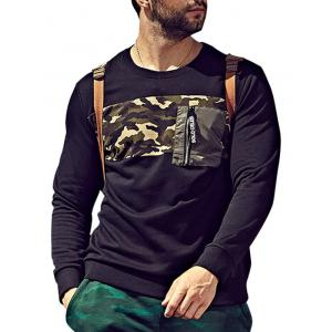 Plus Size Camo Insert Pocket Sweatshirt
