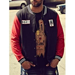 Lion Print Plus Size Baseball Jacket - BLACK 4XL