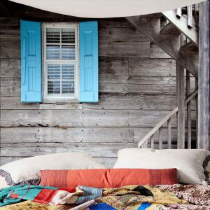 Wood Grain Window Stair Print Waterproof Wall Tapestry -