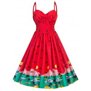 Vintage Watermelon Pin Up Swing Dress - Red - L