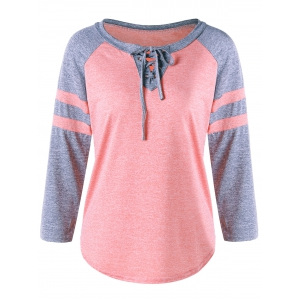 Casual Lace Up Raglan Sleeve T-shirt