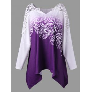 Plus Size Crochet Trim Long Sleeve Top