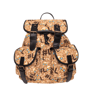 Buckles Emoji Print Backpack - YELLOW