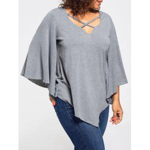 Lace Insert Batwing Sleeve Plus Size Blouse - Gray - 4xl