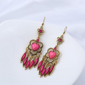 Rhinestone Heart Flower Chandelier Earrings