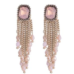Link Chain Fringe Square Faux Gem Drop Earrings - Golden - One-size