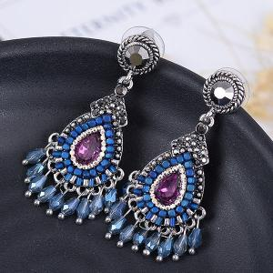 Faux Gemstone Boho Teardrop Fringed Drop Earrings - Silver