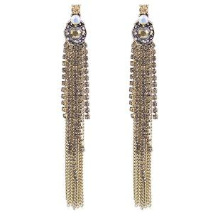 Fringe Link Chain Rhinestone Drop Earrings - Golden