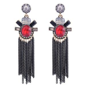 Alloy Fringe Faux Gemstone Inlaid Drop Earrings - Red