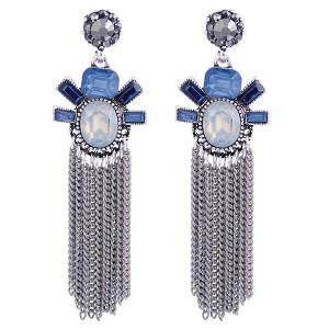 Alloy Fringe Faux Gemstone Inlaid Drop Earrings
