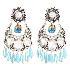 Engraved Faux Gem Pearl Inlay Bohemian Earrings