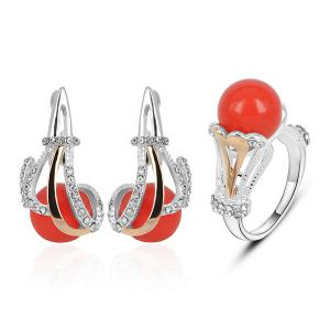Rhinestone Ball Shaped Earring and Ring Set - Red - 8