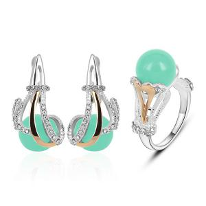 Rhinestone Ball Shaped Earring and Ring Set