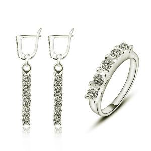Rhinestoned Hoop Drop Earring and Ring Set - Silver