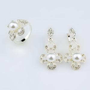 Rhinestoned Faux Pearl Earring and Ring Set - Silver - One-size