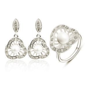 Artificial Pearl Rhinestoned Earring and Ring Set