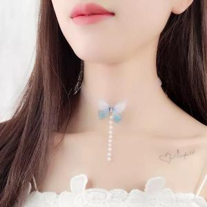 Mesh Faux Pearl Butterfly Choker Necklace
