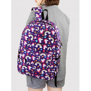 Padded Strap Unicorn Print Backpack - PURPLE