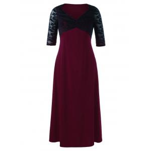 Plus Size Lace Yoke Two Tone Maxi Dress - Red With Black - 4xl