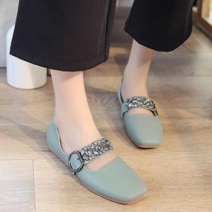 Square Toe Rhinestone Buckle Strap Flats - Green - 39