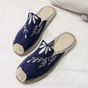 Braided Toe Cap Embroidery Espadrille Mules - BLUE 37