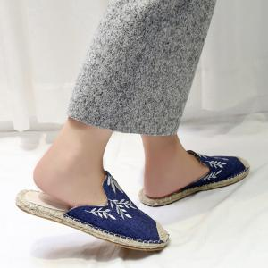 Braided Toe Cap Embroidery Espadrille Mules - BLUE 38