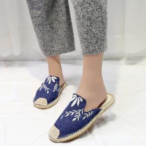 Braided Toe Cap Embroidery Espadrille Mules - BLUE 39