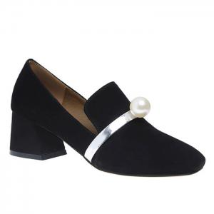 Faux Pearl Block Heel Square Toe Pumps - Black - 38