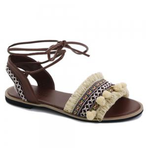 Pom Pom Fringe Gladiator Lace-up Sandals - Apricot - 38