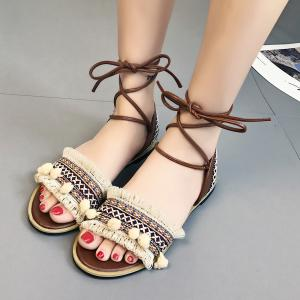 Pom Pom Fringe Gladiator Lace-up Sandals -