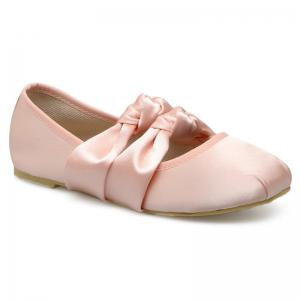 Round Toe Double Bowknot Flat Shoes - Pink - 39