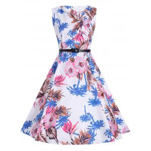 Vintage Print Knee Length Party Dress