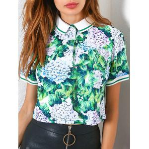 Button Up Short Sleeve Print Polo T-shirt