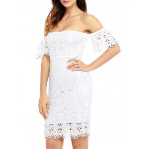Off The Shoulder Sheath Lace Cocktail Dress - WHITE S